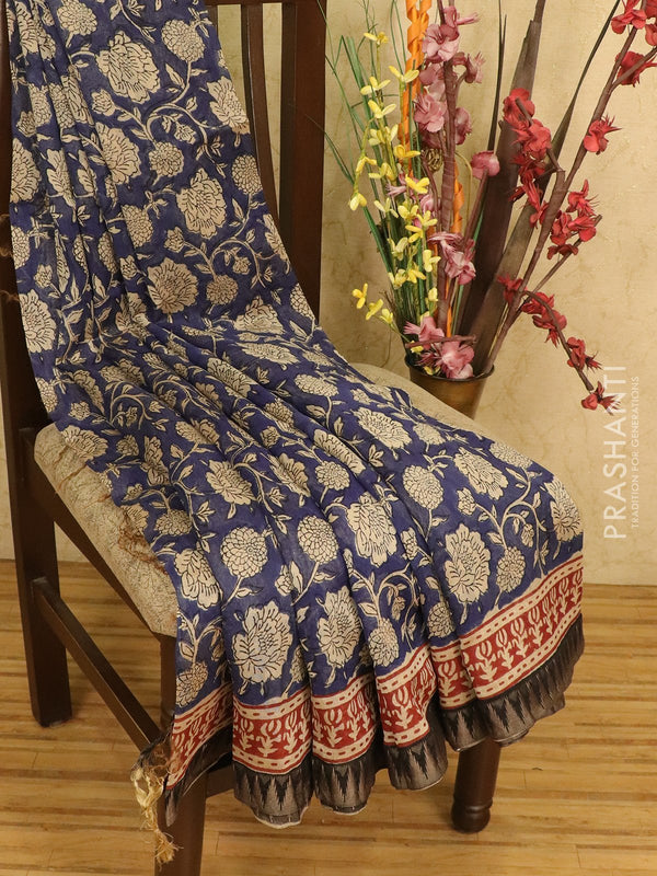 Chanderi bagru saree blue with kalamkari prints and thread woven temple style border