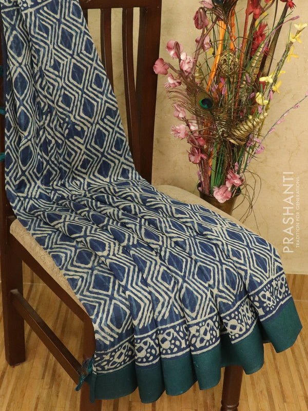 Chanderi bagru saree indigo blue with dabu prints abd geecha border
