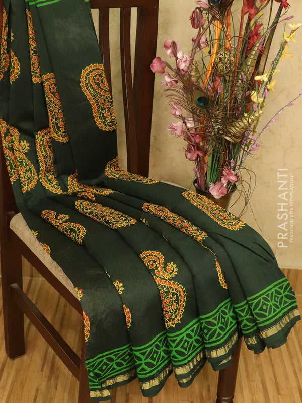 Chanderi bagru saree green with paisley prints and small zari border