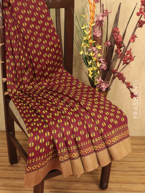 Chanderi bagru saree maroon with allover floral buttas and geecha border