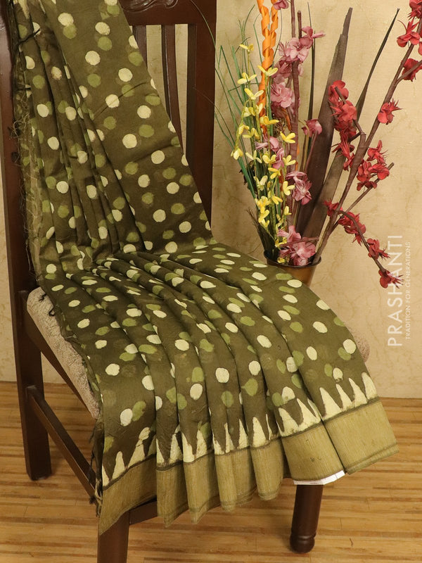 Chanderi bagru saree olive green with polka dots and geecha border