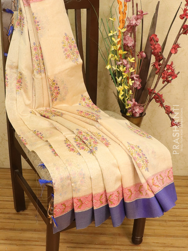 Chanderi bagru saree cream with floral butta prints and geecha border