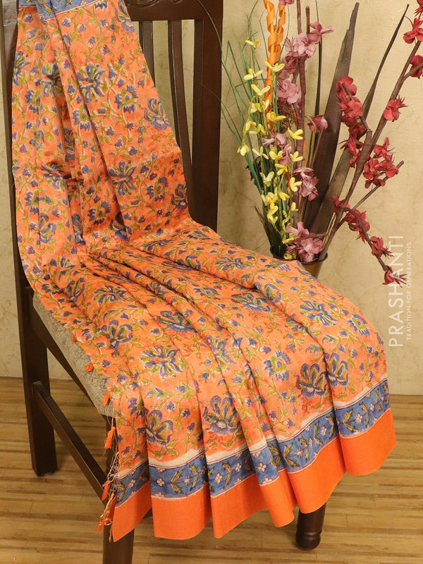 Chanderi bagru saree mild orange with allover floral prints and geecha border