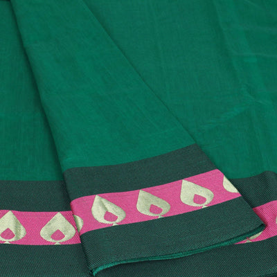 Mercerised Cotton Saree Green with Thread and Zari Border