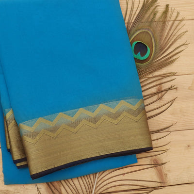 Chiffon Saree Sky blue and dark blue with wave zari border