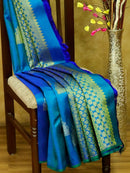 Pure Kanjivaram silk saree peacock blue and green with silver zari buttas in borderless style