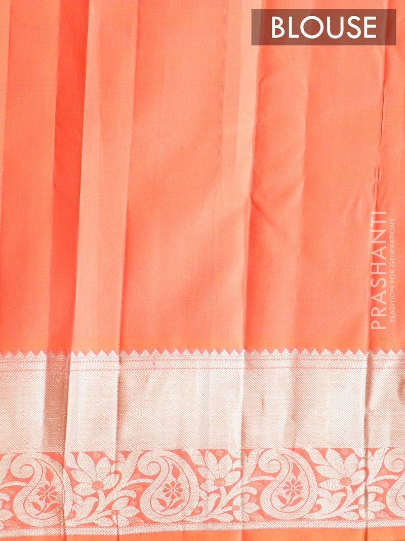 Pure Kanjivaram silk saree peach pink with silver zari peacock buttas and rich zari border
