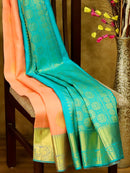 Pure Kanjivaram silk saree peach and teal with golden zari buttas and rich zari border
