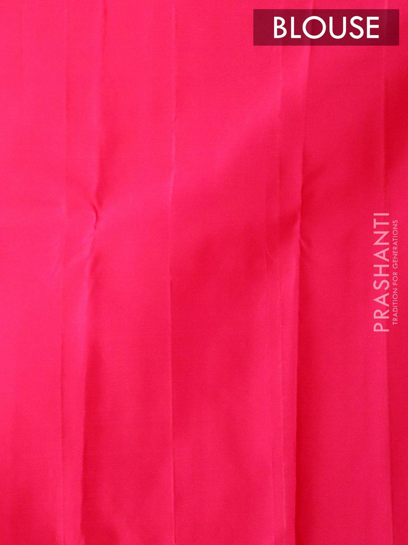 Pure Kanjivaram silk saree dual shade of pink with gold and silver zari lines with butta border