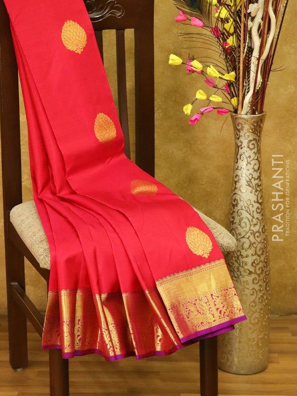 Pure Kanjivaram silk saree tomato pink and violet with golden zari floral buttas and rich zari border