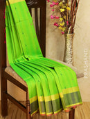 Pure Soft silk saree leaf green and pink with thread pallu in jute finish