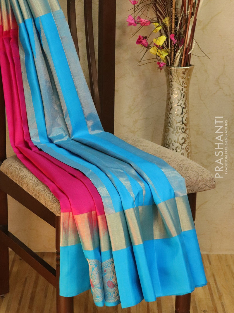 Pure Soft silk saree pink and cs blue with long zari border and rich pallu