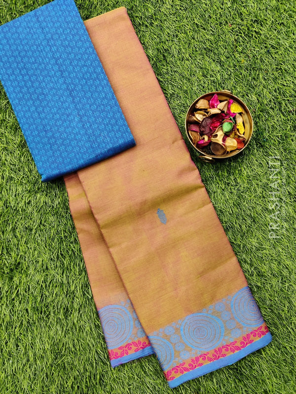 Chettinad cotton saree dual shade of pink and green with thread woven border and woven blouse