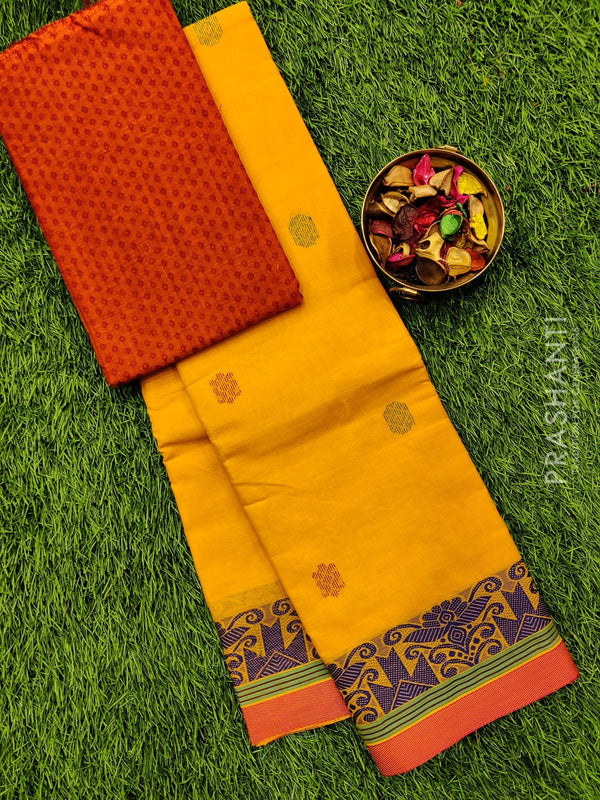 Chettinad cotton saree yellow and pink with thread woven border and woven blouse