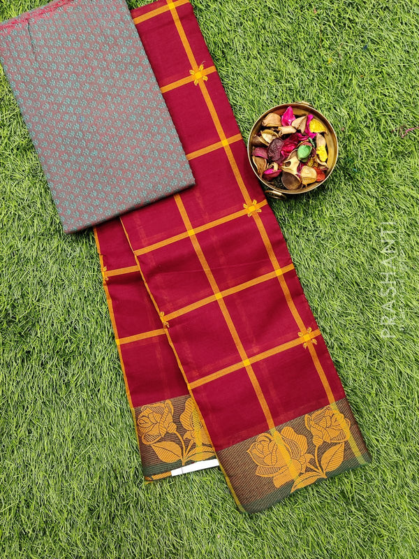 Chettinad cotton saree maroon and green with thread woven border and woven blouse