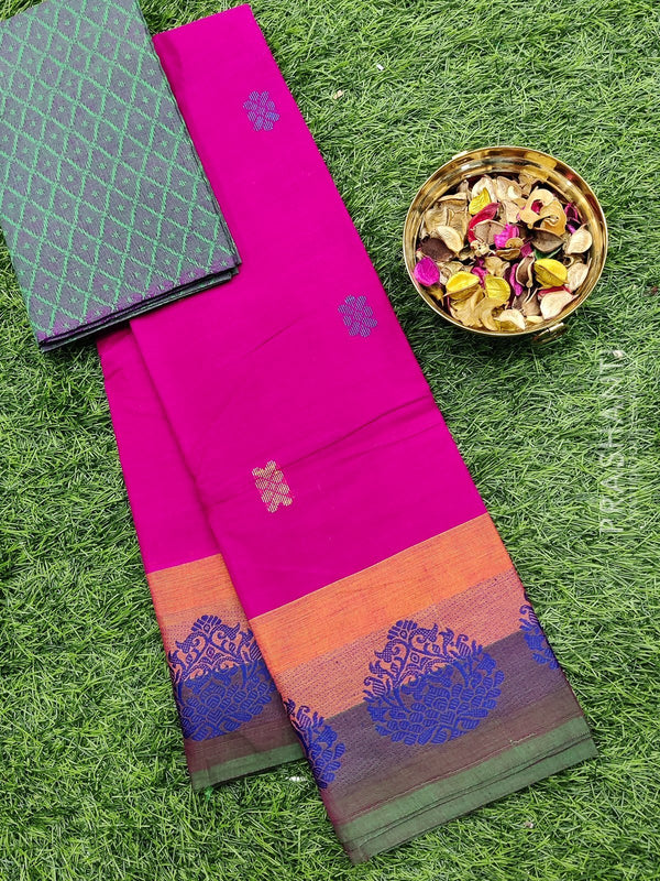 Chettinad cotton saree pink and green with thread woven border and woven blouse