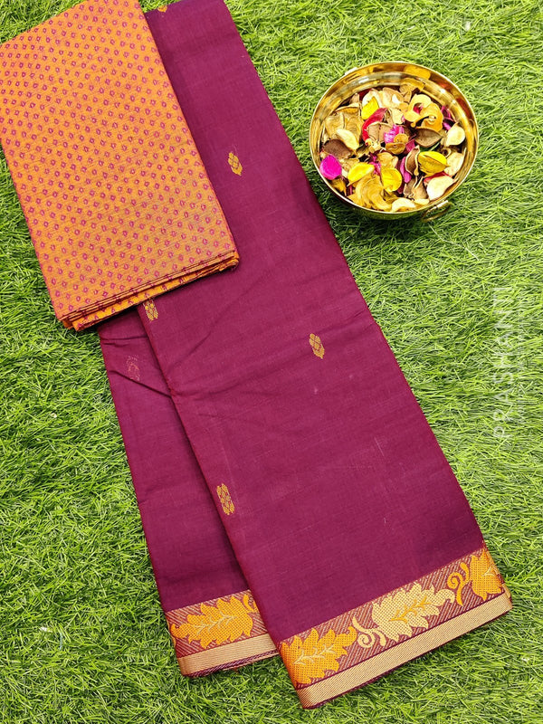 Chettinad cotton saree maroon and beige with thread woven border and woven blouse