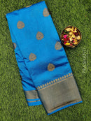 Semi raw silk saree cs blue with antique zari border and floral buttas