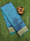 Semi raw silk saree dual shade of pink and blue with allover self emboss and zari woven border
