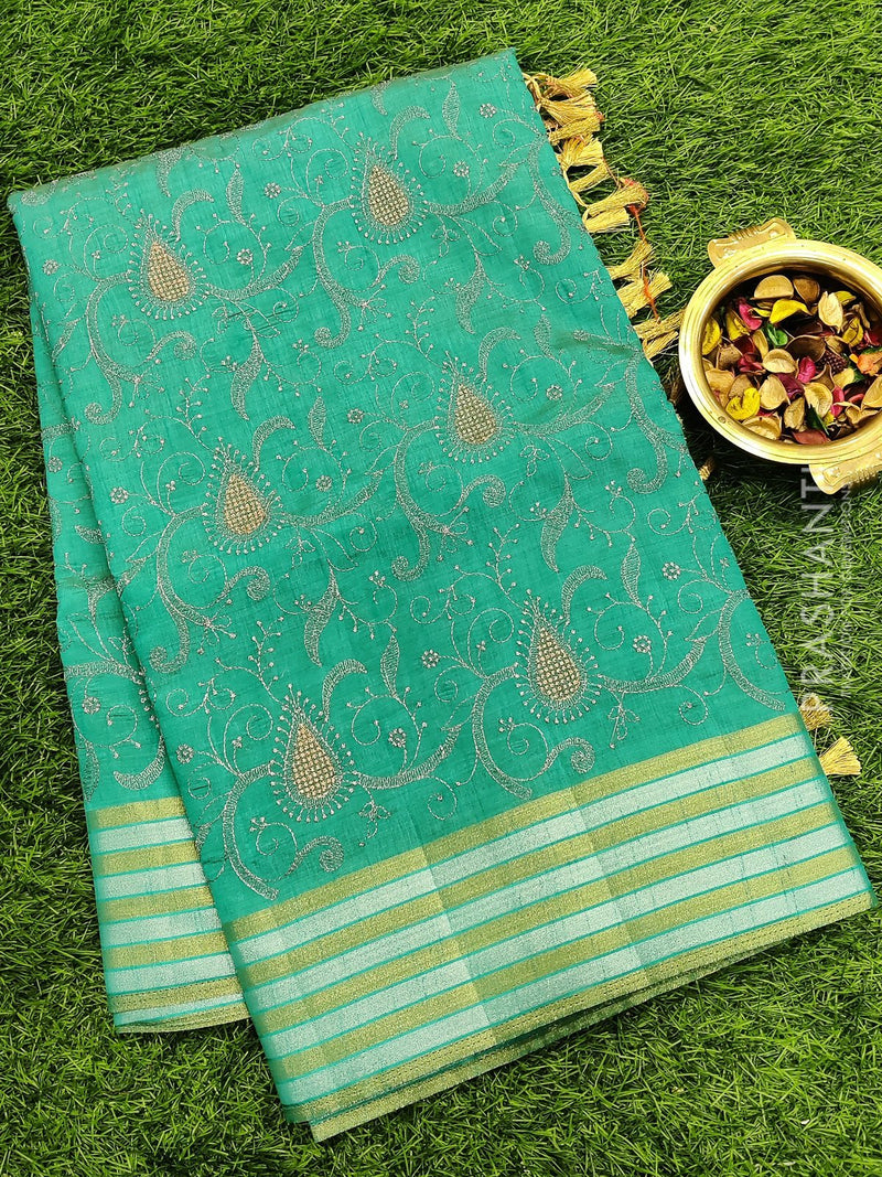 Semi raw silk saree teal blue with all over embroidery