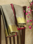 Pure kanjivaram silk sareee grey and pink with allover self emboss and zari woven border