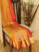 Pure kanjivaram silk sareee mustard and rustic orange with allover self emboss and woven buttas with rich border