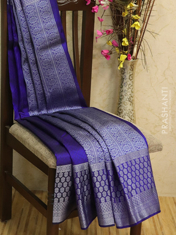 Pure kanjivaram silk sareee navy blue with self emboss and thread woven border