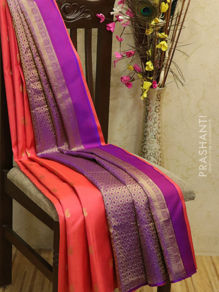 Pure kanjivaram silk sareee pink and violet with small paisley buttas in borderless style