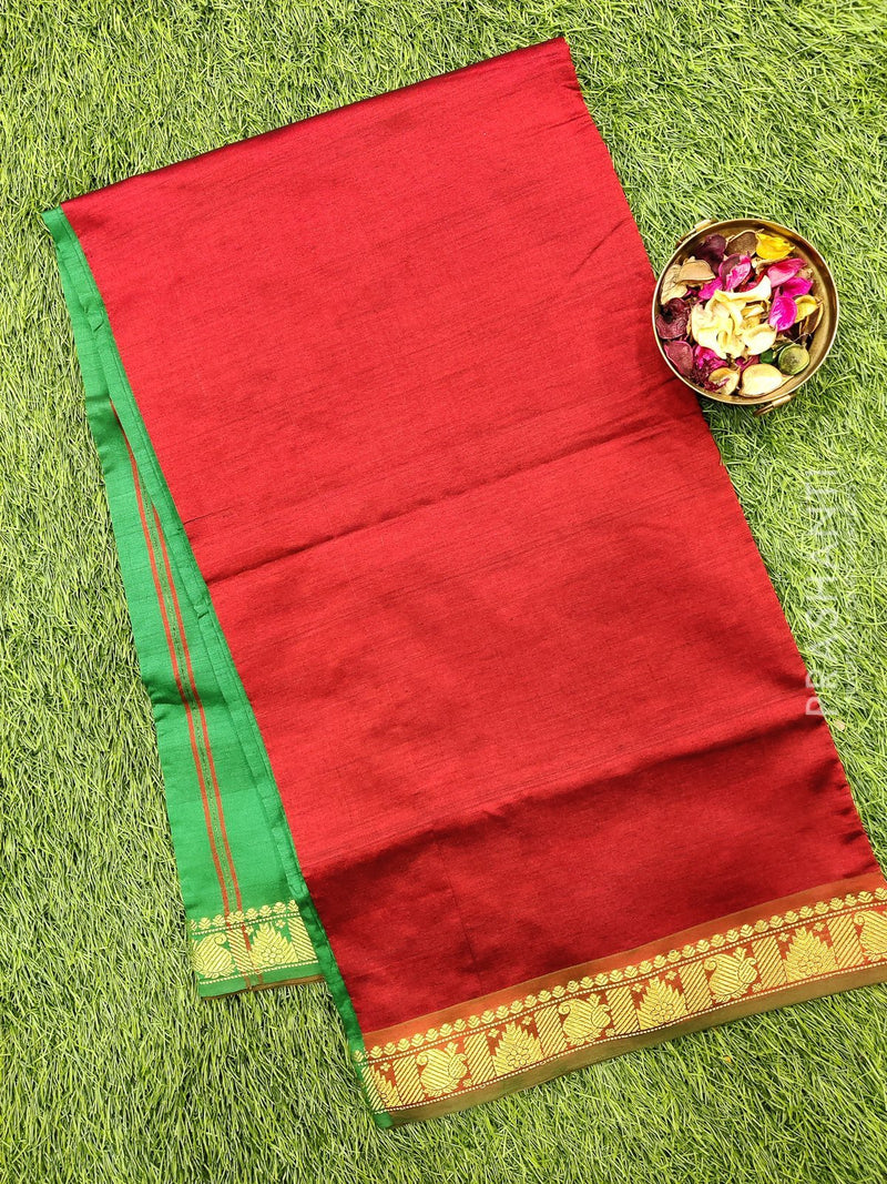Semi silk cotton saree maroon and green with zari woven border