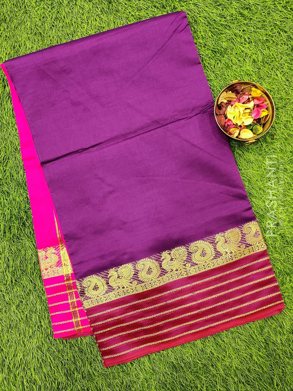 Semi silk cotton saree deep purple and pink with zari woven maharani border