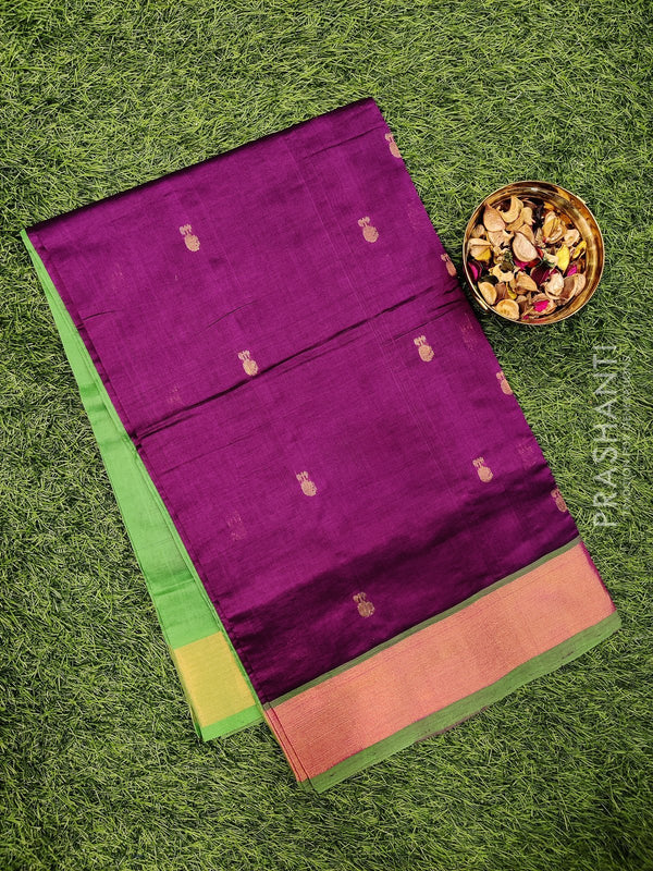 Semi silk cotton saree deep purple and green with zari woven buttas and kaddi zari border