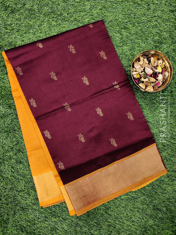 Semi silk cotton saree coffee brown and mustard with zari woven buttas and kaddi zari border