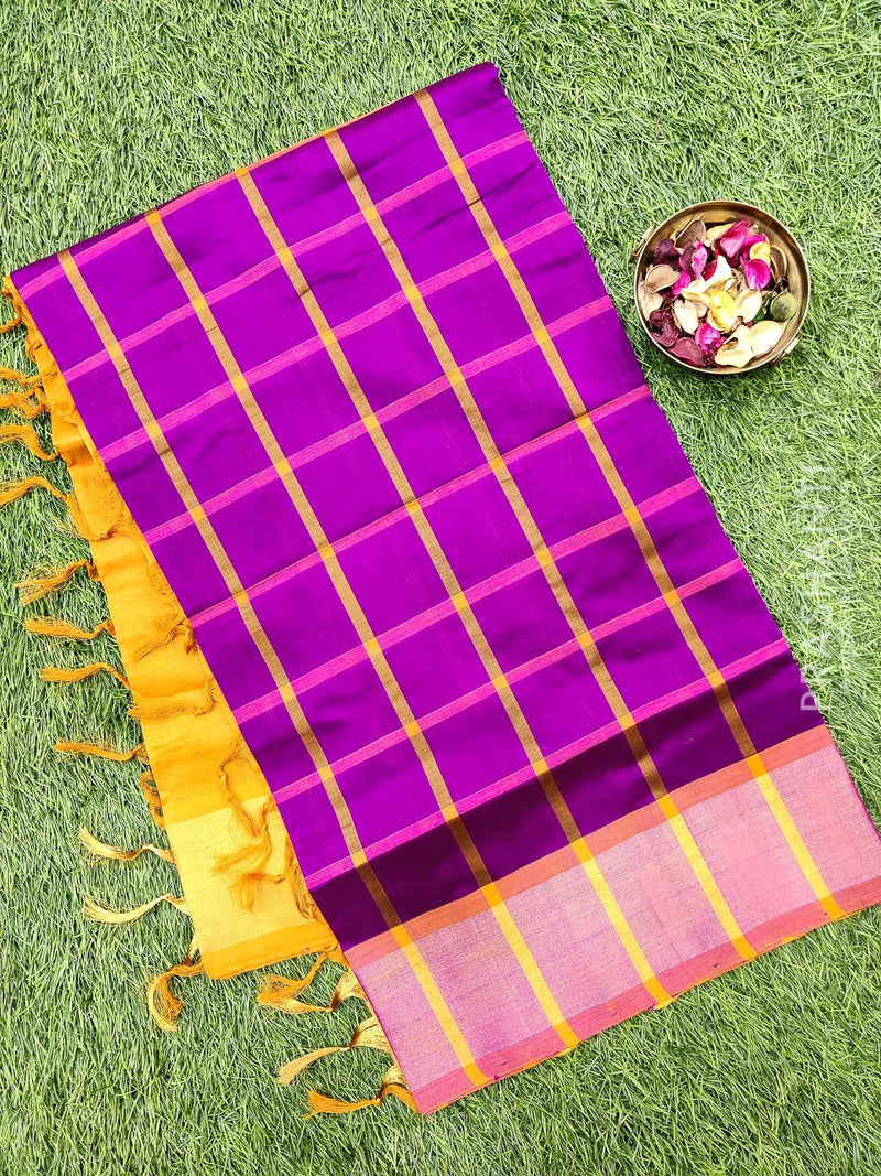 Semi silk cotton saree purple and mustard checked pattern with kaddi zari border