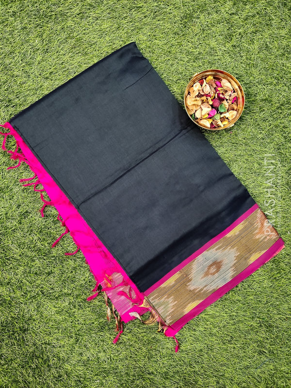 Semi silk cotton saree deep bottle green and pink with plain body and ikkat woven zari border