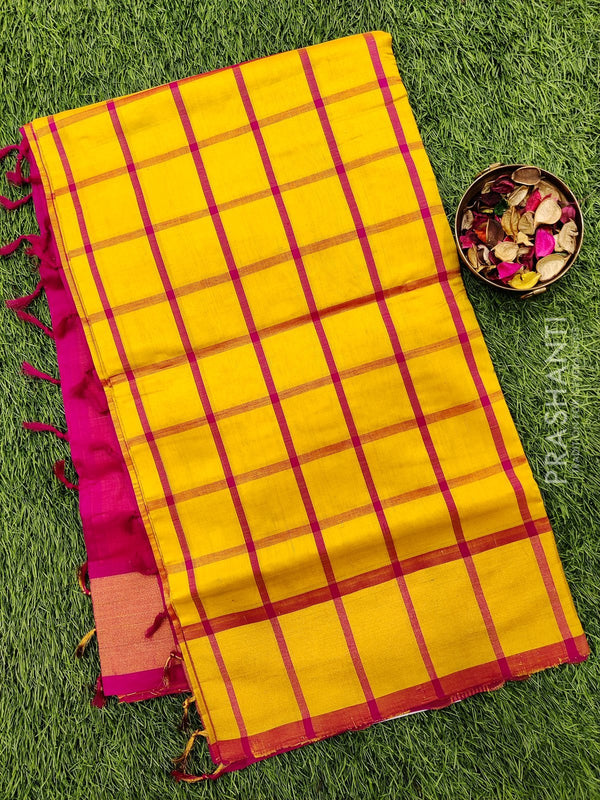 Semi silk cotton saree yellow and pink checked pattern with kaddi zari border