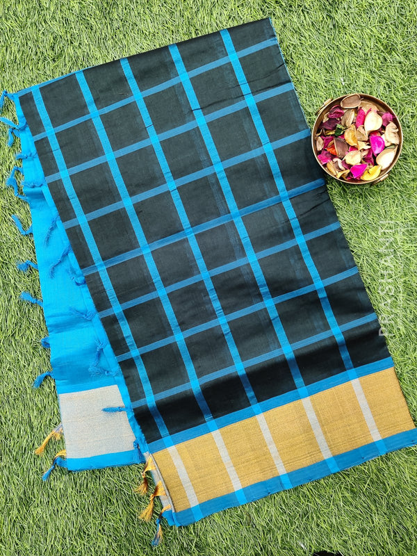 Semi silk cotton saree bottle green and cs blue checked pattern with kaddi zari border