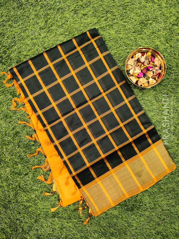 Semi silk cotton saree bottle green and mustard checked pattern with kaddi zari border