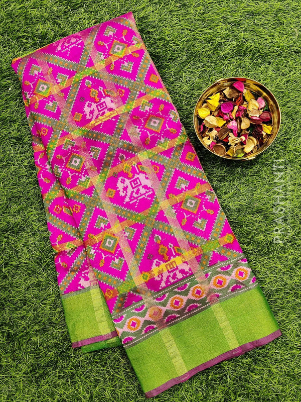 Semi Tussar saree pink and green with all over ikkat prints and simple zari border