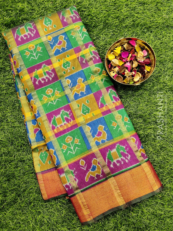 Semi Tussar saree multi colour with all over ikkat prints and simple zari border