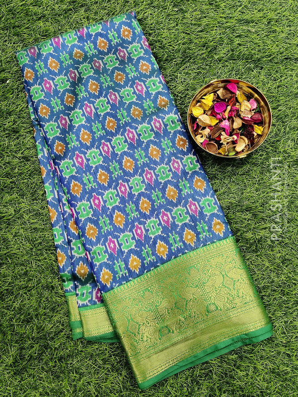 Semi Tussar saree blue and green with all over ikkat prints and rich zari woven border
