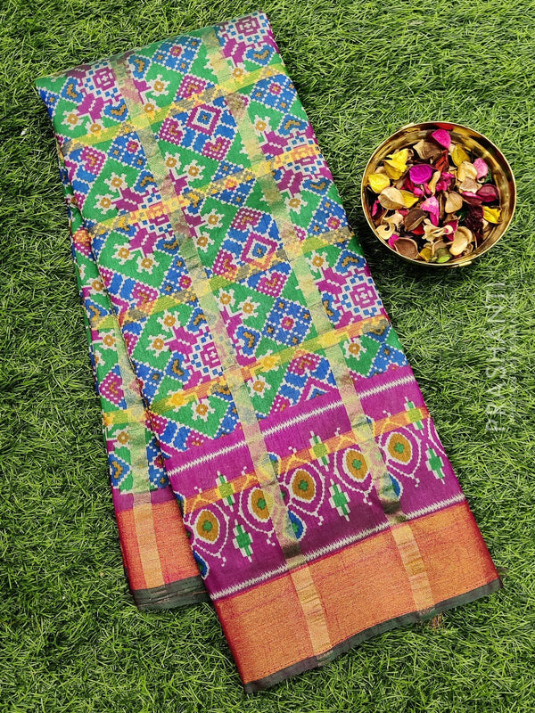 Semi Tussar saree green and pink with all over ikkat prints and simple zari border
