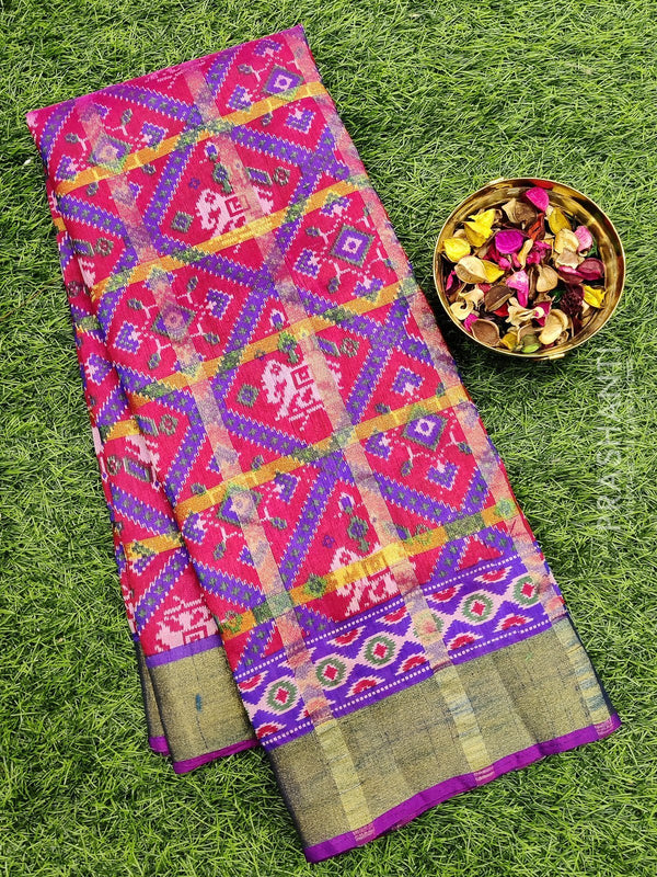 Semi Tussar saree red and violet with all over ikkat prints and simple zari border