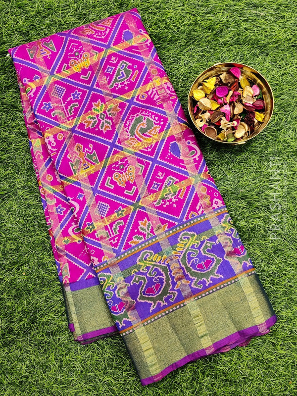 Semi Tussar saree pink and violet with all over ikkat prints and simple zari border