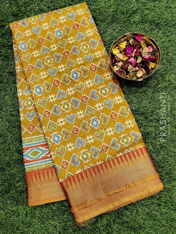 Semi Tussar saree mustard and rust with all over ikkat prints and Temple zari border