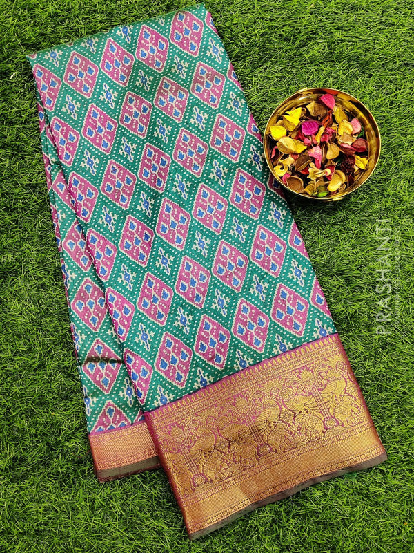 Semi Tussar saree green and pink with all over ikkat prints and rich zari woven border