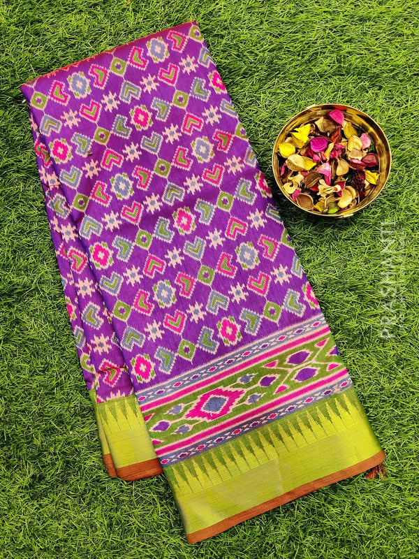 Semi Tussar saree violet and green with all over ikkat prints and Temple zari border