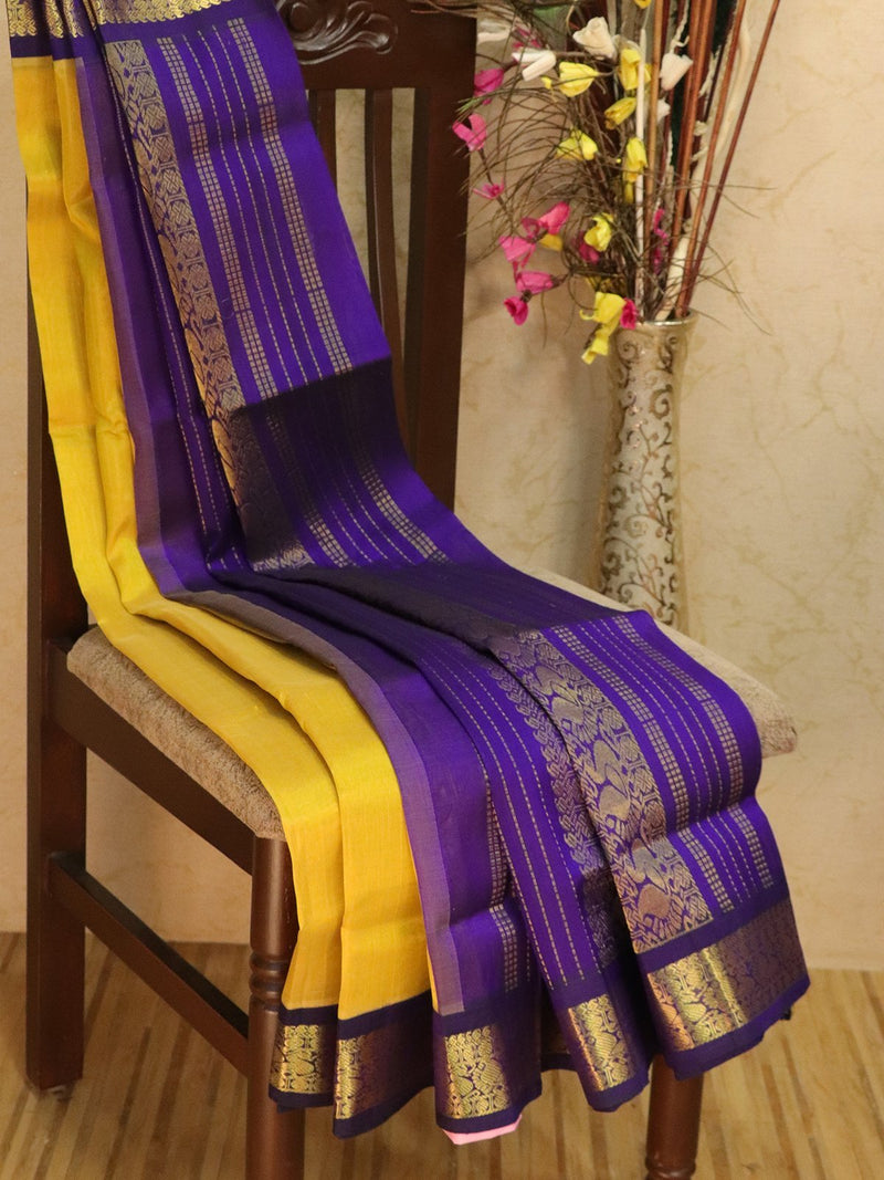 Silk Cotton saree mustard and violet with rich korvai zari border