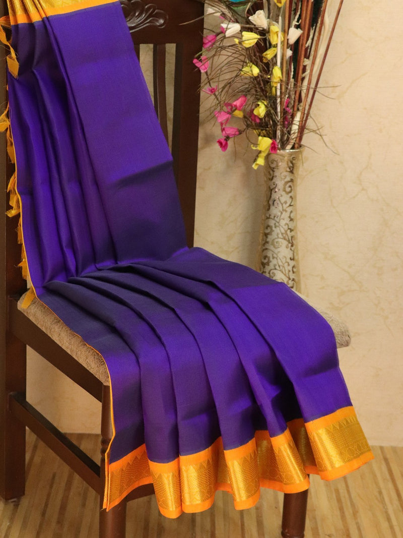 Silk Cotton saree navy blue and mustard with rich korvai zari border