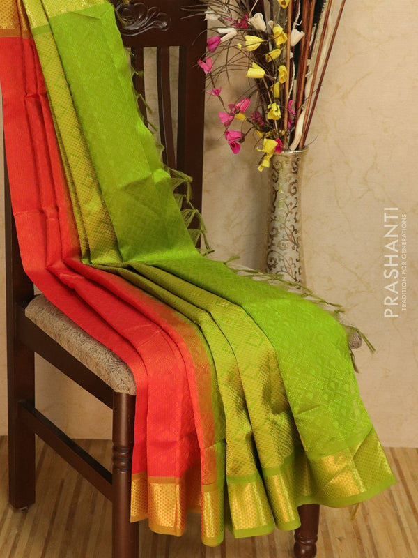Silk Cotton saree orange and green with self emboss jacquard weaving and rich zari border