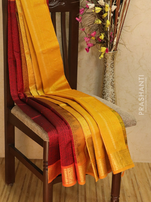 Silk Cotton saree maroon and mustard with self emboss jacquard weaving and rich zari border
